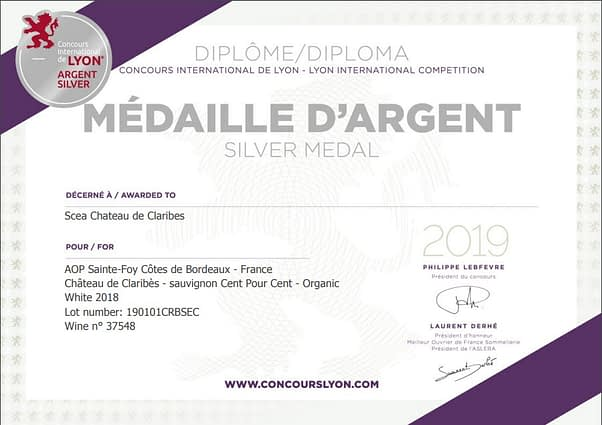 Silver Medal at 2019 Concours International de Lyon